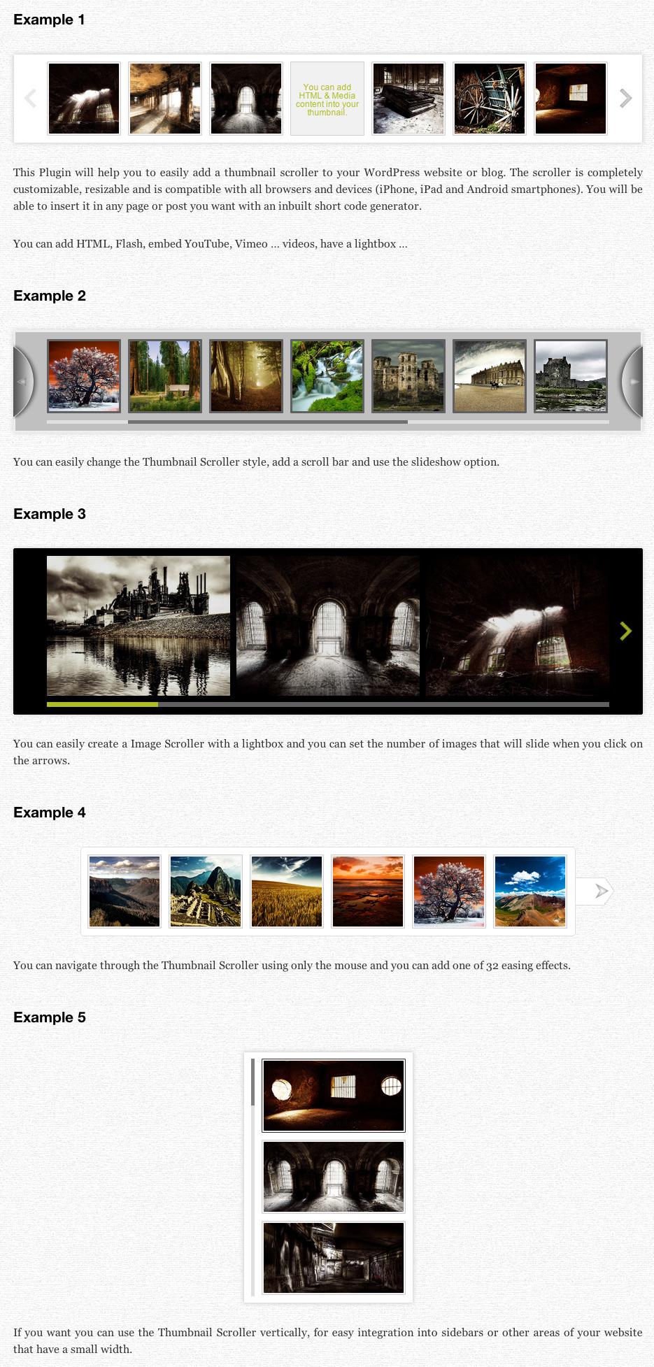 Thumbnail Scroller (WordPress Plugin) - Scroller Examples