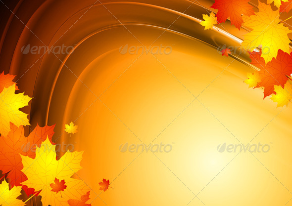 Abstract autumn design with maple leaves