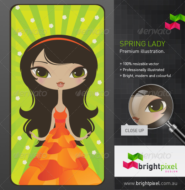 Spring Lady Illustration - Characters Vectors