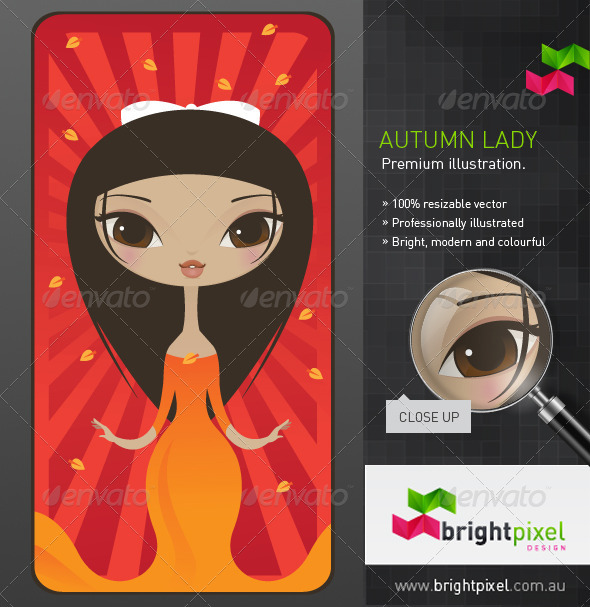 Autumn Lady Illustration - Characters Vectors