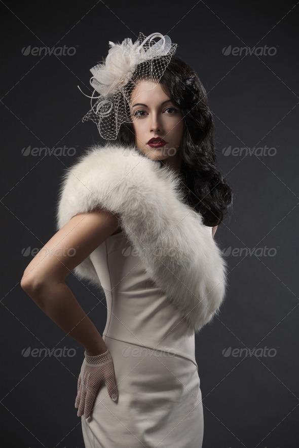 Retro Woman Portrait - Stock Photo - Images