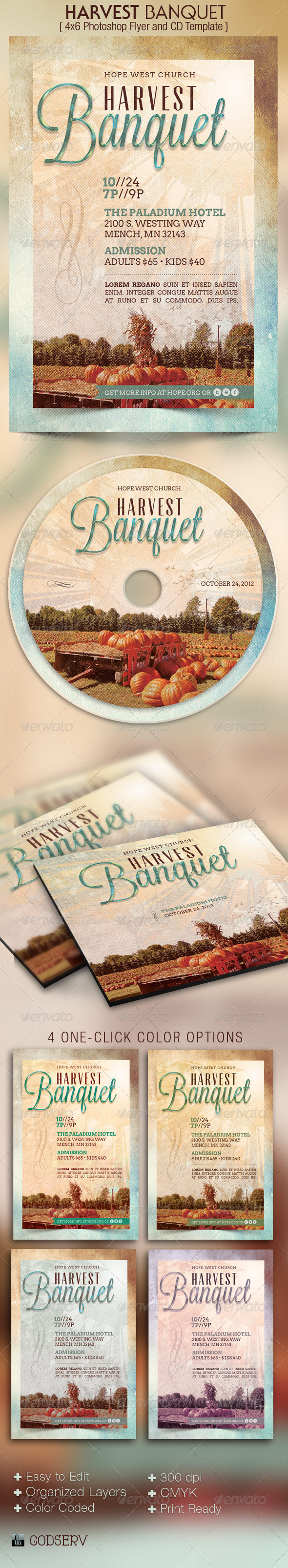 Harvest Banquet Church Flyer and CD Template - Church Flyers