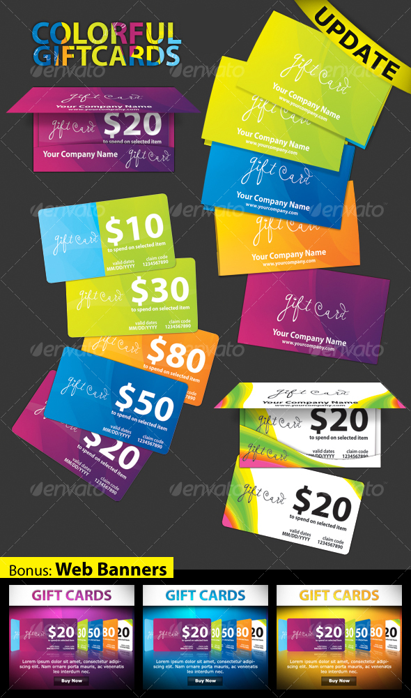 COLORFUL - gift cards - Industry Specific Business Cards