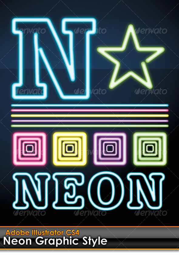 GraphicRiver Neon Illustrator Graphic Style 101180