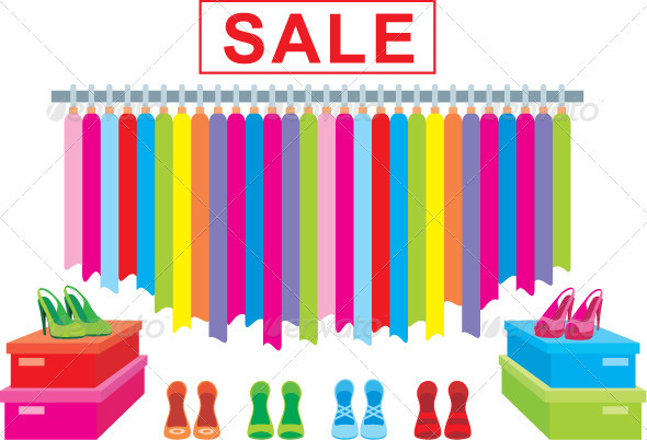 Clothes and footwear sale - Objects Vectors