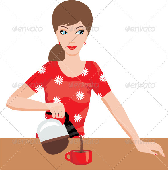 Woman on kitchen pours coffee - People Characters