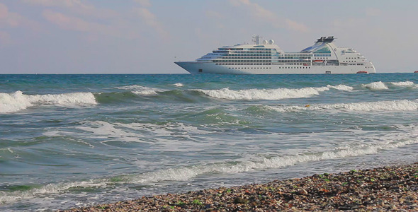 Cruise Liner Near To The Beach