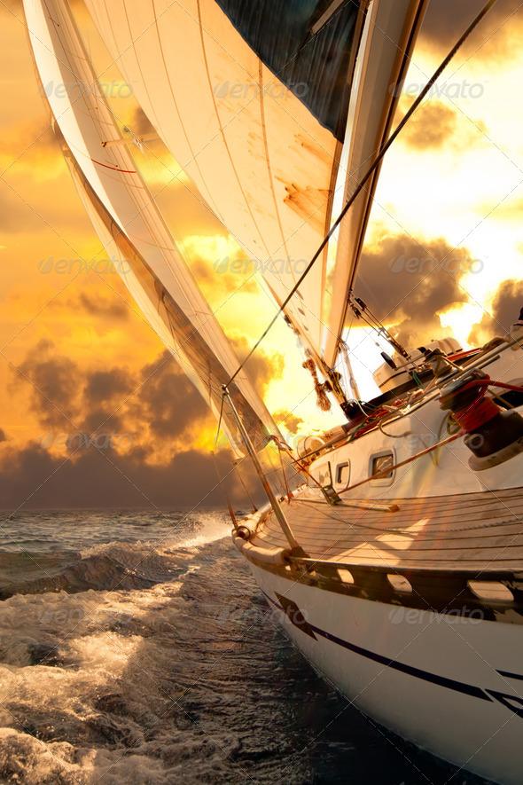Sailboat crop during the regatta - Stock Photo - Images