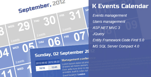 CodeCanyon K Events Calendar ASP.NET MVC 3 2956361