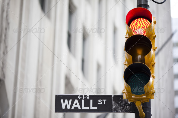 Wall street and red traffic  light - Stock Photo - Images