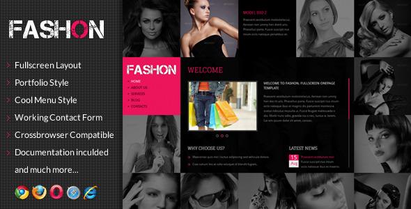 Fashon - Fullscreen Onepage Portfolio Template