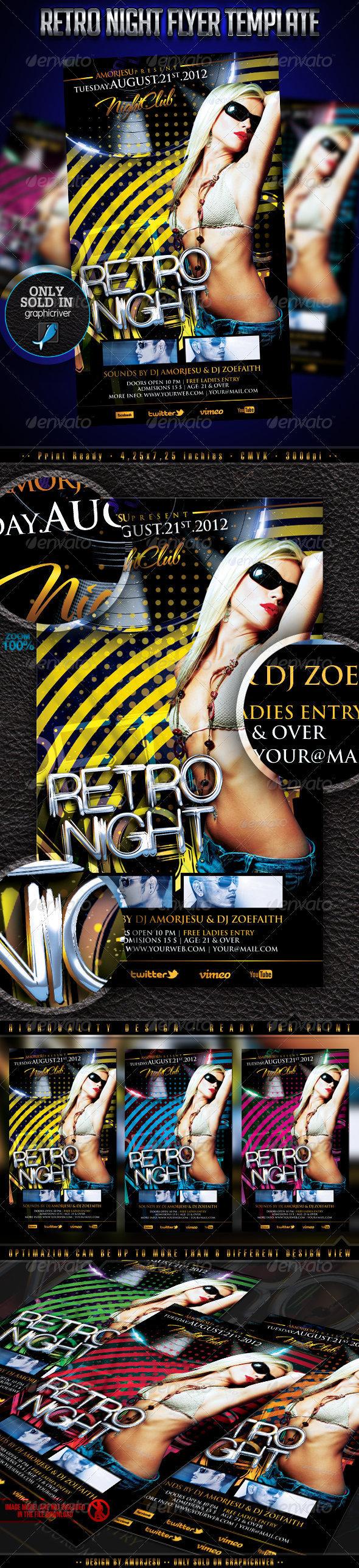 Retro Night Flyer Template
