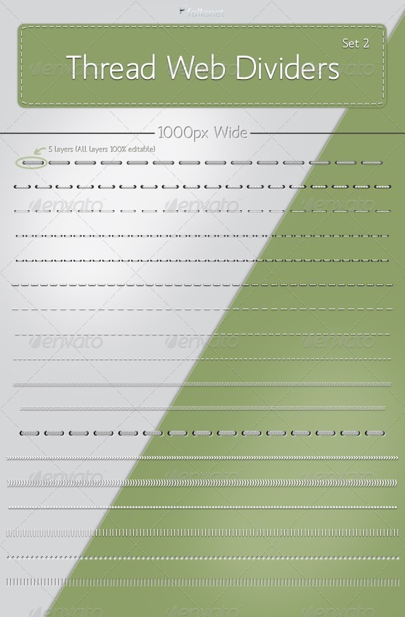 Graphic River Thread Web Dividers Set 2 Web Elements - 306157