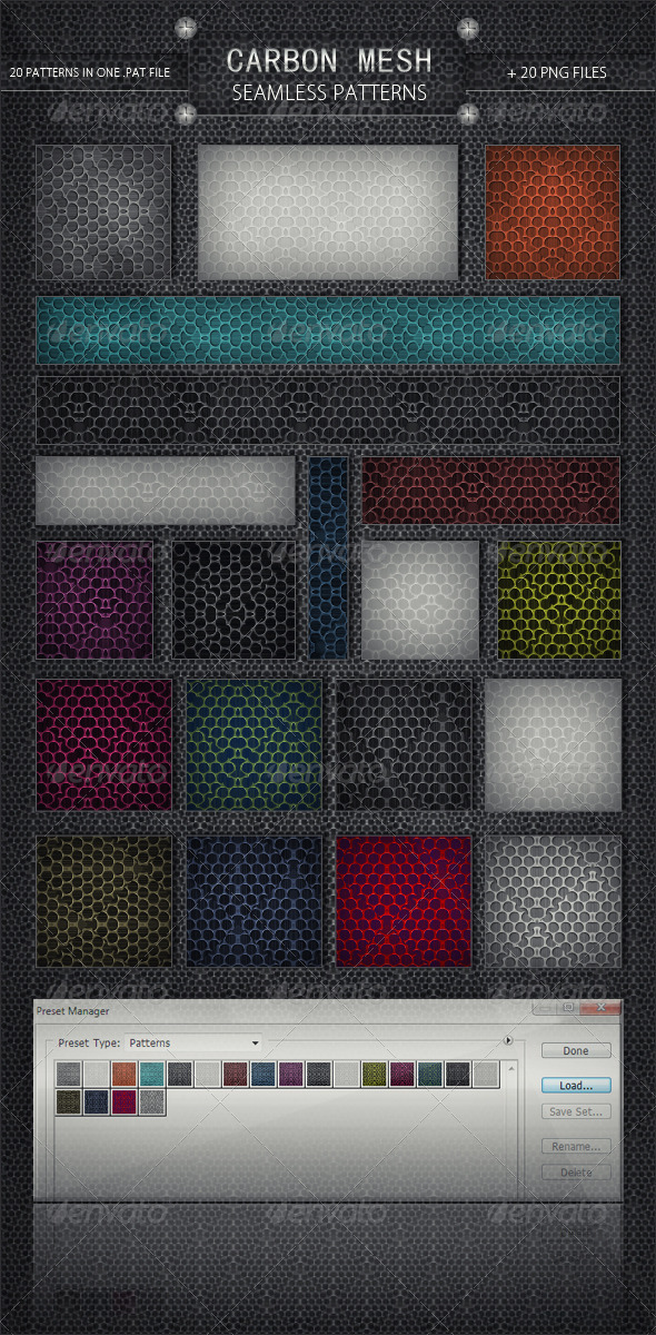 20 Carbon Mesh - Seamless Patterns - Urban Textures / Fills / Patterns