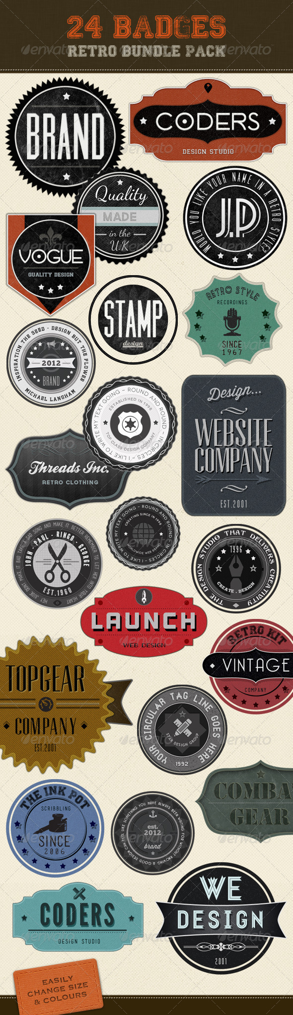 Retro Badges - Vintage Labels Bundle - Badges & Stickers Web Elements