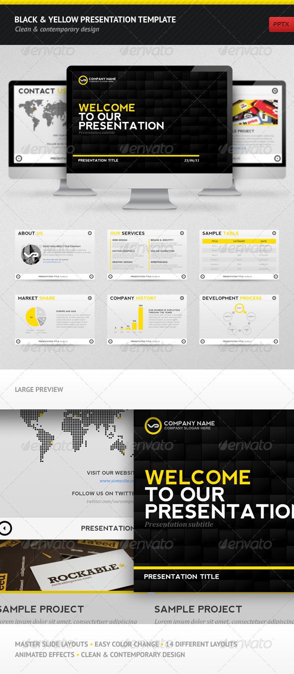 GraphicRiver Black & Yellow Presentation Template 308010