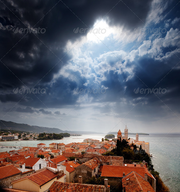 Stock Photo - PhotoDune Medieval Town Dramatic Sky 248361