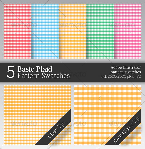 GraphicRiver 5 Basic Plaid Pattern Swatches 49590