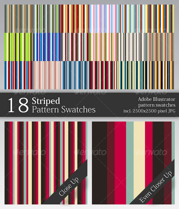 GraphicRiver 18 Striped Pattern Swatches 49096