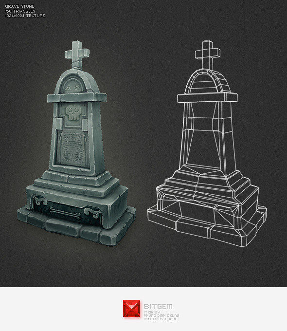 3DOcean Low Poly Grave Stone 04 2963942
