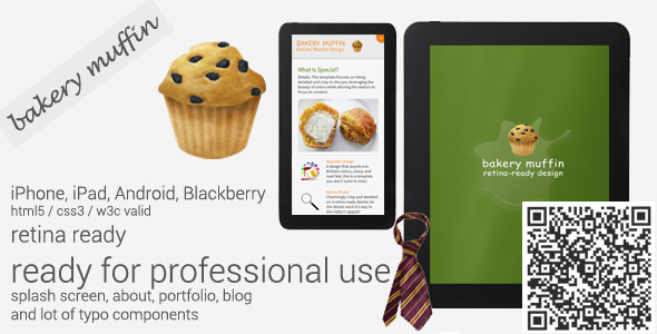 Bakery Muffin Retina-Ready Mobile Template