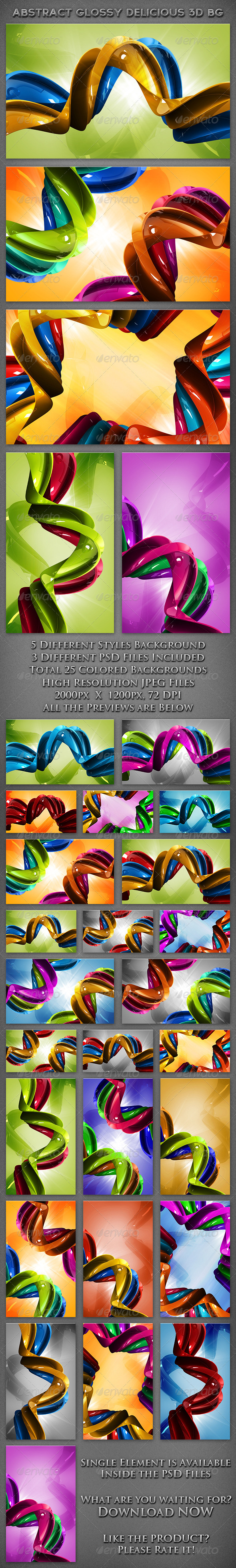 Abstract Glossy 3D Colorful Backgrounds - Abstract Backgrounds