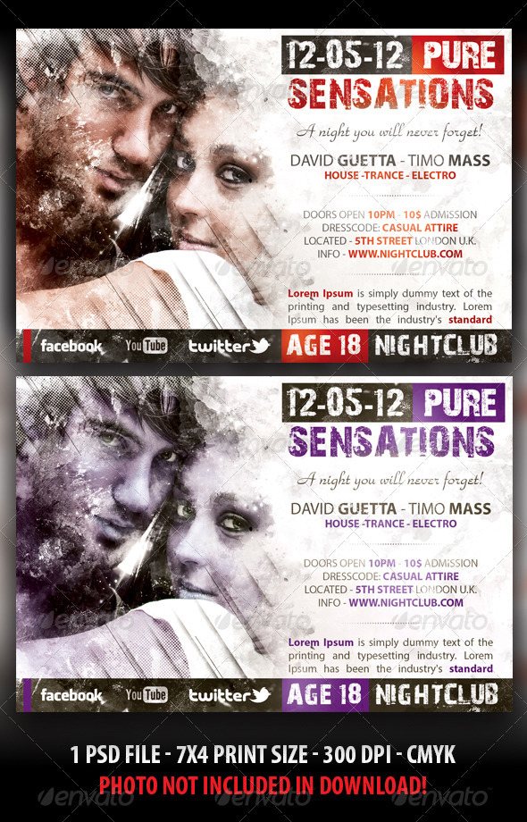 Pure Sensations Party Flyer - Flyers Print Templates