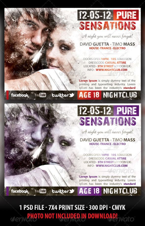 Pure Sensations Party Flyer - Flyers Print Templates