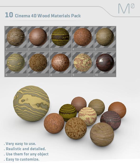 3DOcean 10 C4D Wood Materials Pack 2969645