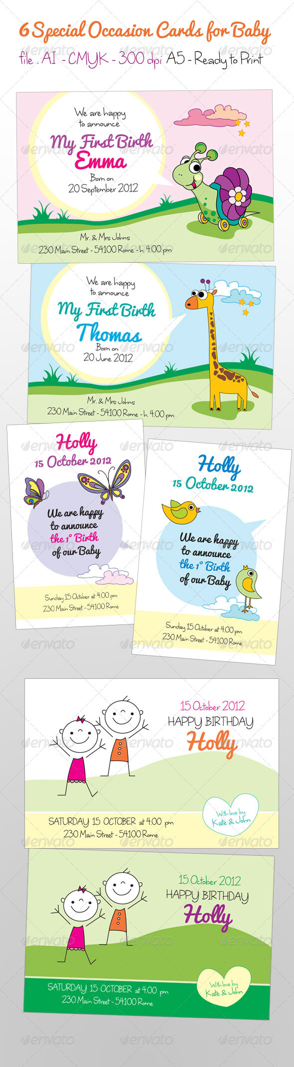 Kids Cards - Cards & Invites Print Templates