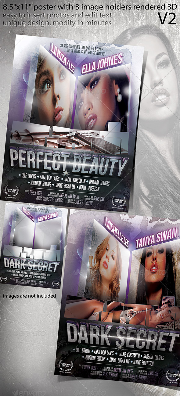 Poster Design with 3D Rendered Image Holders V2 - Clubs & Parties Events