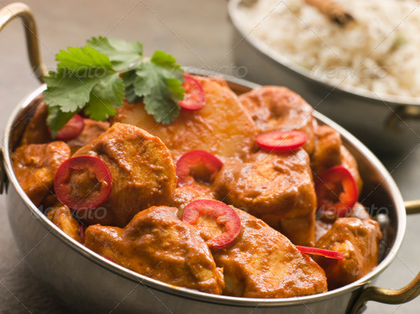 PhotoDune Chicken Chili Tikka Masala with Fragrant Basmati Rice 308296