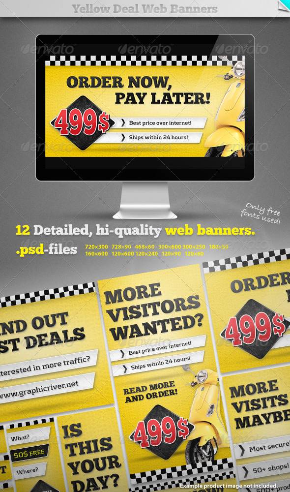 Yellow Deal Web Banners - Banners & Ads Web Elements