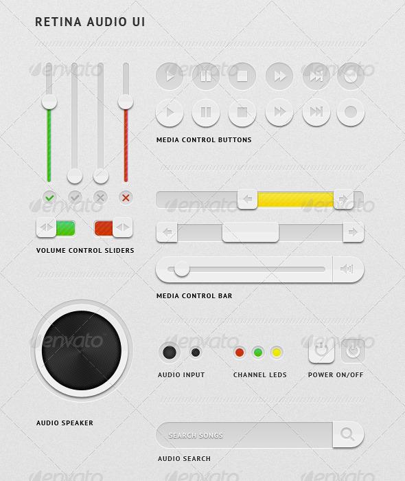 Retina Audio UI - User Interfaces Web Elements