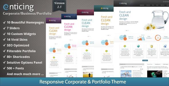 ThemeForest Enticing Premium Corporate and Portfolio Theme 2611264