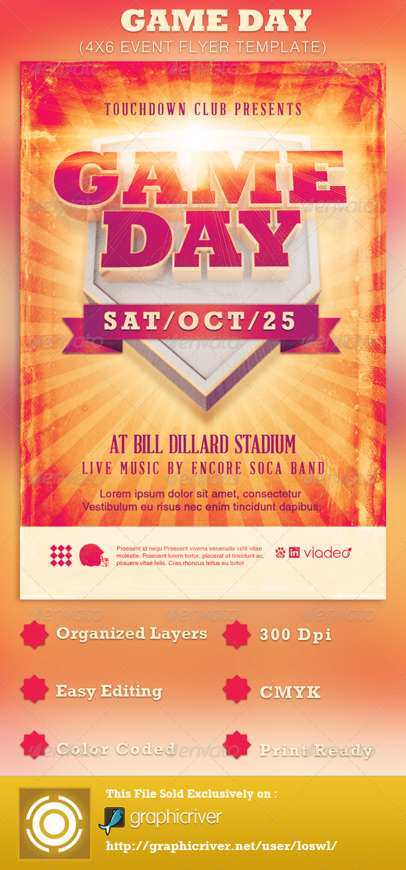 GraphicRiver Game Day Event Flyer Template 2973240