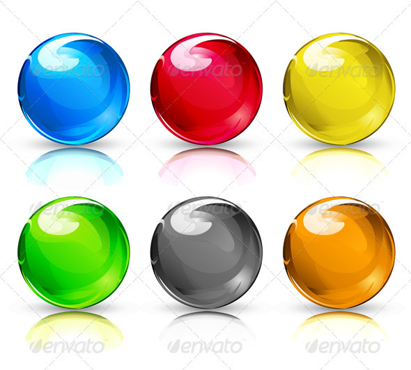 Cartoon Colored Marbles : Glass marbles button spheres graphicriver