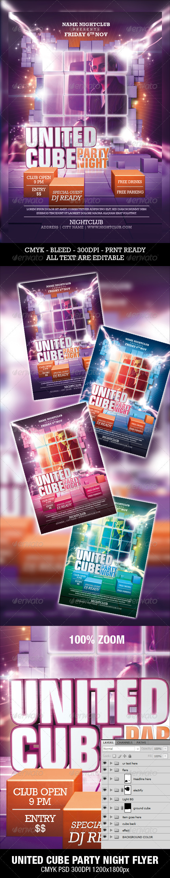 United Cube Party Night Flyer