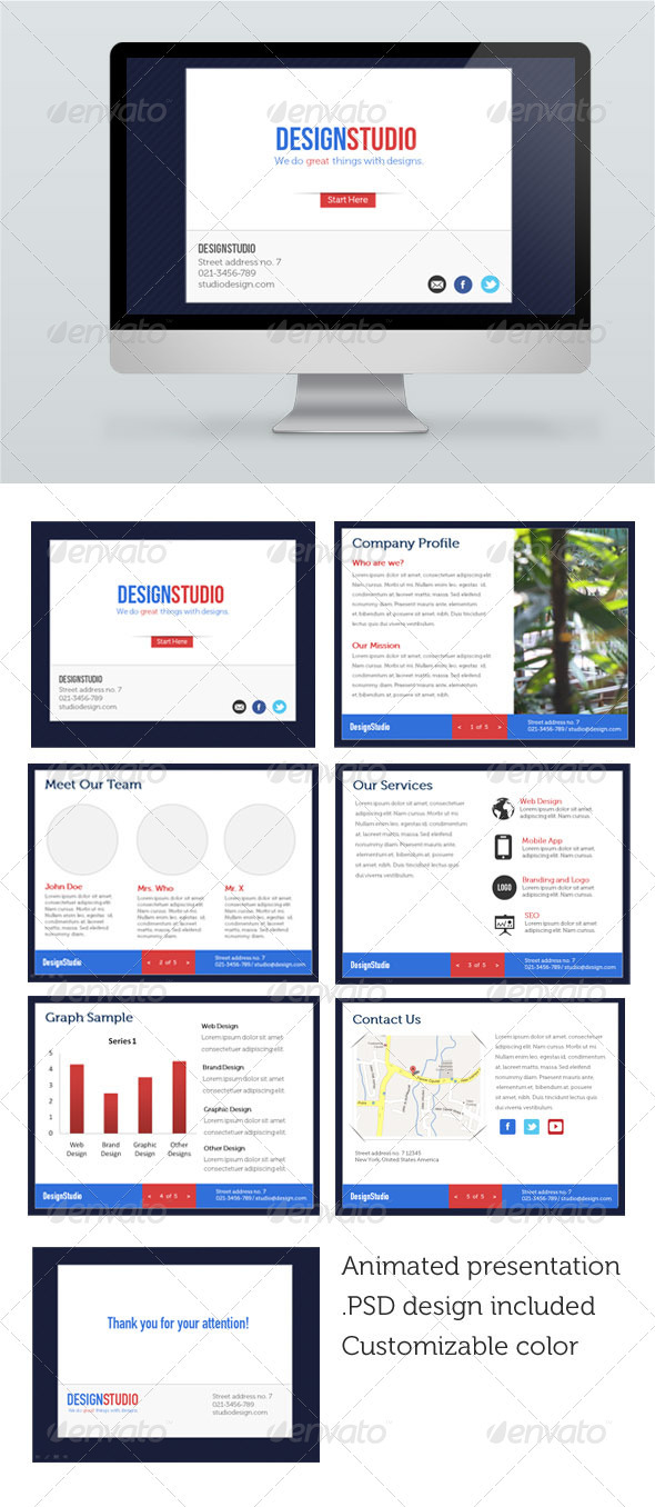 Floating Design Studio Presentation Template - Powerpoint Templates Presentation Templates