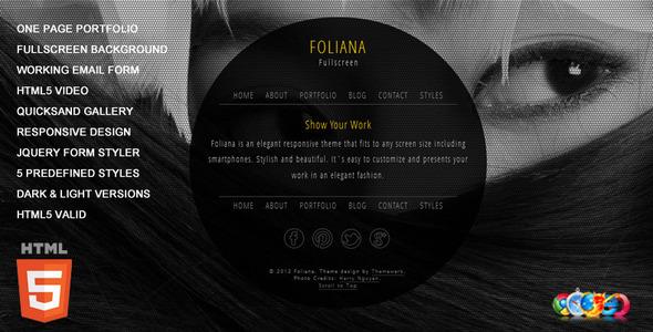 ThemeForest Foliana One Page Responsive Portfolio 2851876