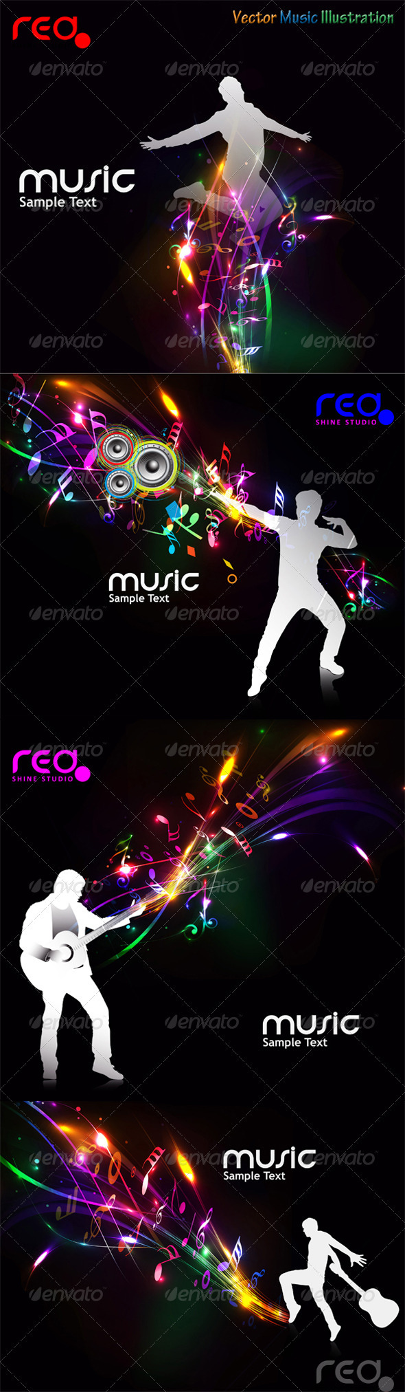 Set Of Beautiful Music Background - Backgrounds Decorative