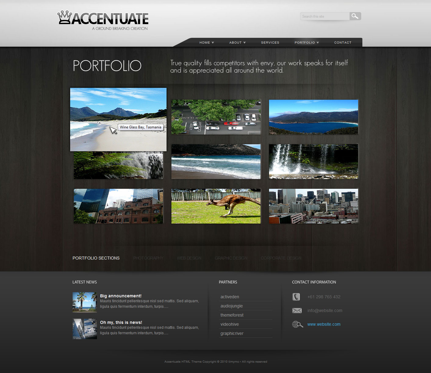 Accentuate Premium HTML Theme / Business Portfolio - Portfolio - Accentuate comes with 2 portfolio options, this one and another one that has titles and descriptions as well. There is a custom made flash-like hover effect which makes the thumbnail pop out when hovered over (done with jQuery). Portfolio also supports video and flash with the PrettyPhoto plugin.