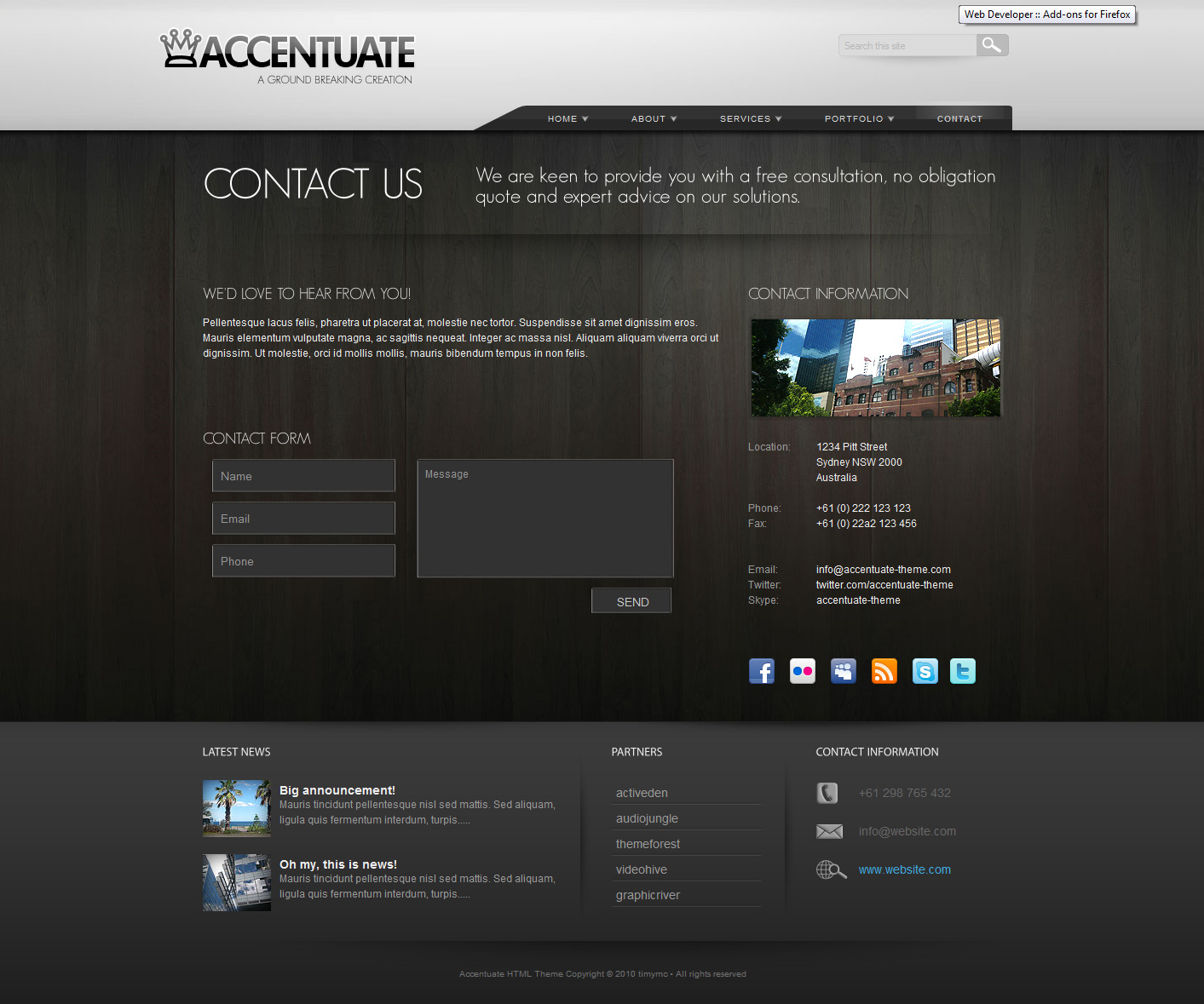 Accentuate Premium HTML Theme / Business Portfolio - Contact page - It's ready to go with AJAX validation and pre-coded PHP all in the one file. All you need to do is add your email address into the form and it works!