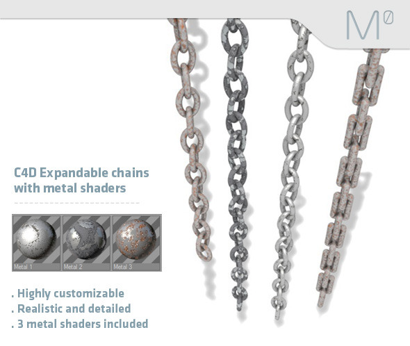 3DOcean C4D Expandable Chains With Metal Shaders 2970622