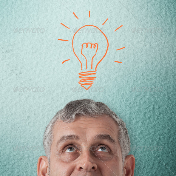 Business man thinking to creative idea - Stock Photo - Images