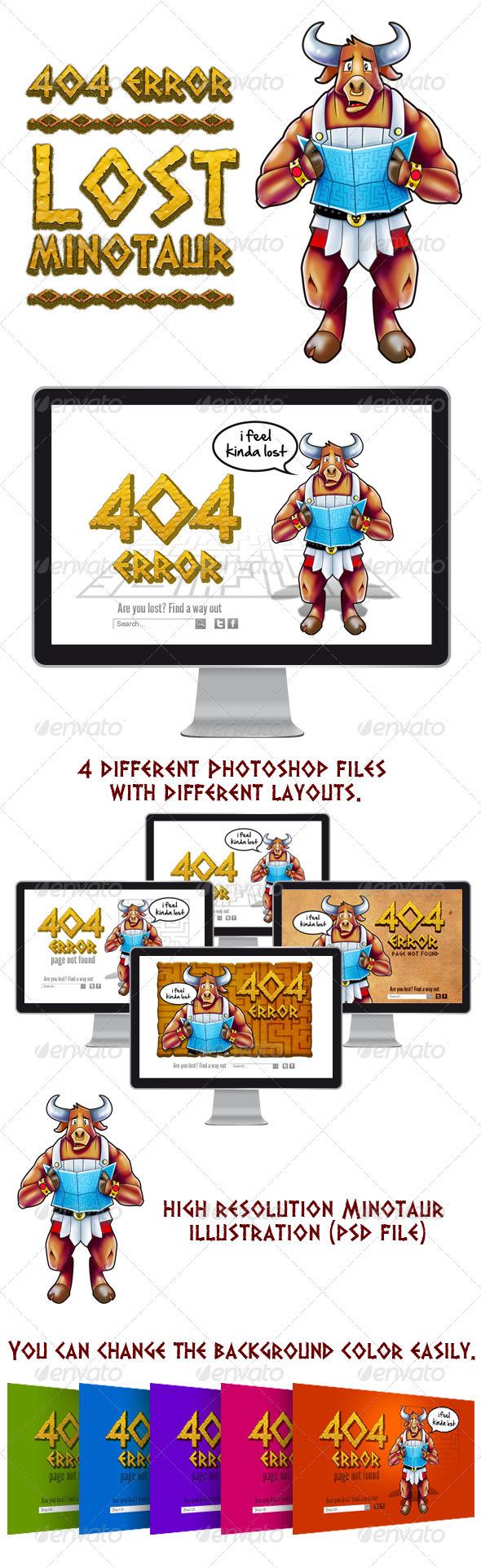 Lost Minotaur - 404 Error - 404 Pages Web Elements