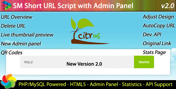 CodeCanyon SM Short URL Script with Admin panel 1824438