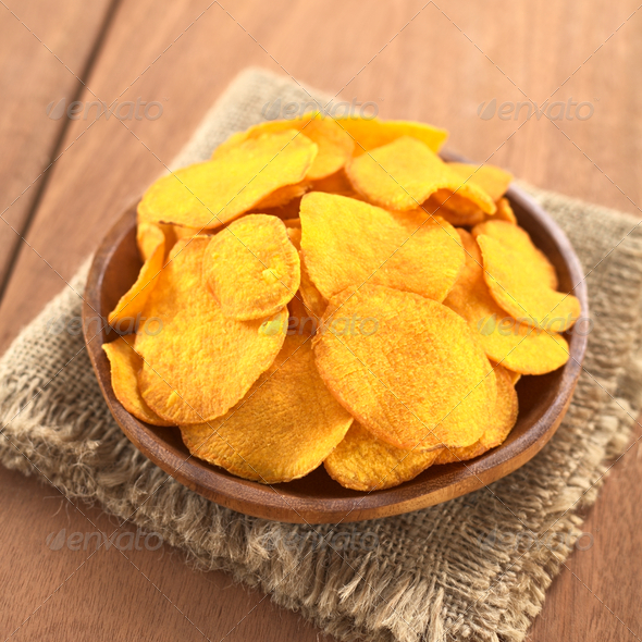 Crispy Sweet Potato Chips - Stock Photo - Images