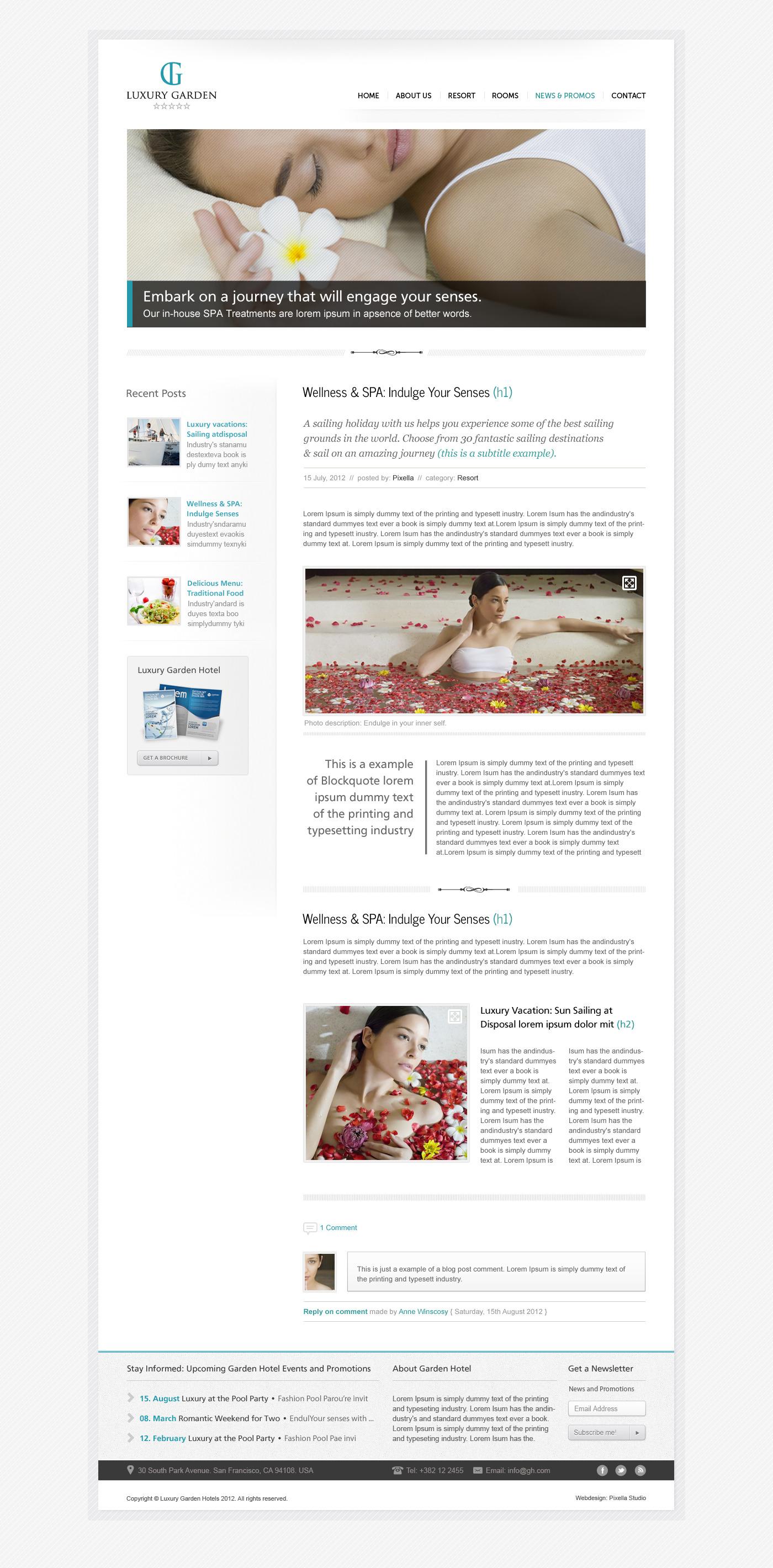 Luxury Garden Hotel Website PSD Template