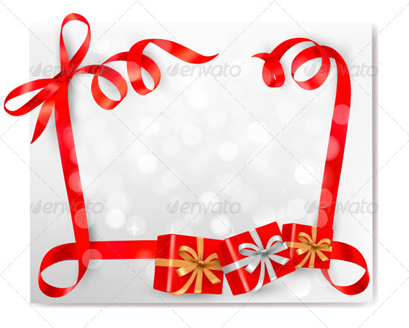 Christmas background with red gift ribbons